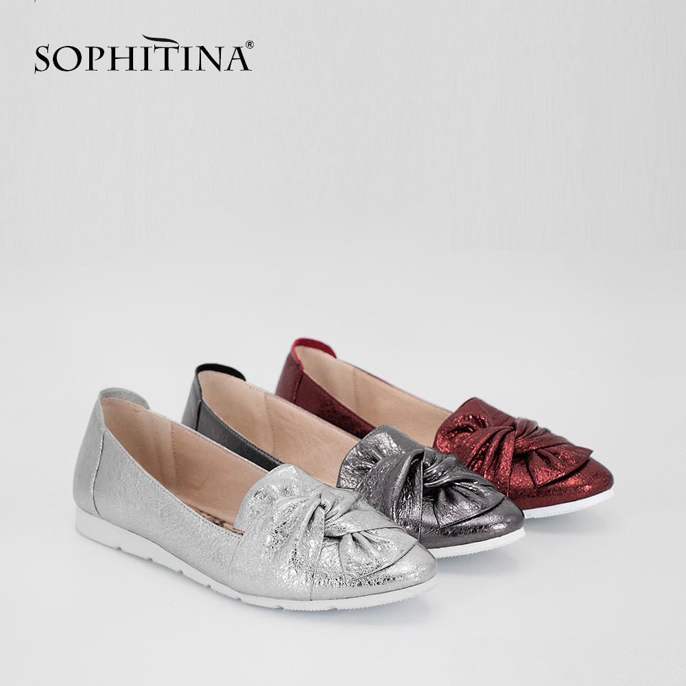 SOPHITINA Soft Casual Flats Genuine Leather Flower Slip On Flats Dark Red Silver Grey Leisure Round