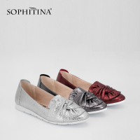 SOPHITINA Soft Casual Flats Genuine Leather Flower Slip On Flats Dark Red Silver Grey Leisure Round Toe Shining Woman Shoes P21