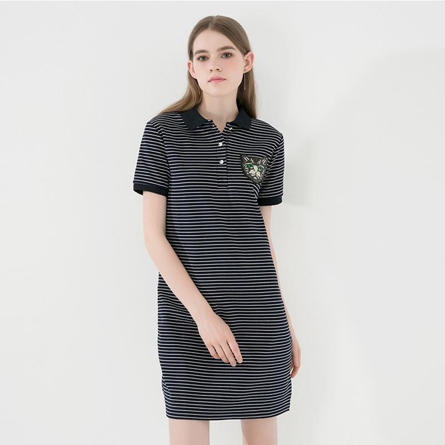 a8375f135e04 € 21.09 |Vestidos camiseta vestido deportivo talla grande verano Mujer 2018  algodón 100% Polo rayas gatos blanco negro Footbal vestido camisa ...