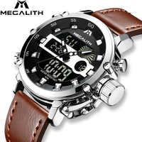 MEGALITH 2019 男性防水腕時計軍事多機能腕時計ファッションメンズスポーツクォーツ男性時計 Horloges 万年