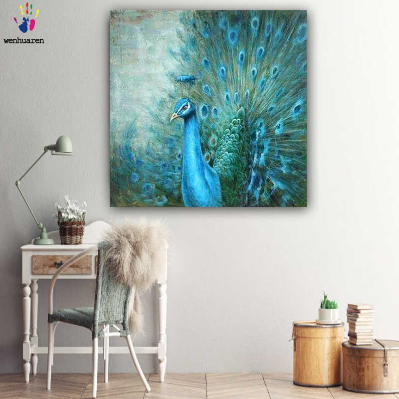 DIY colorings pictures by numbers with colors The peacock picture drawing painting by numbers framed Home