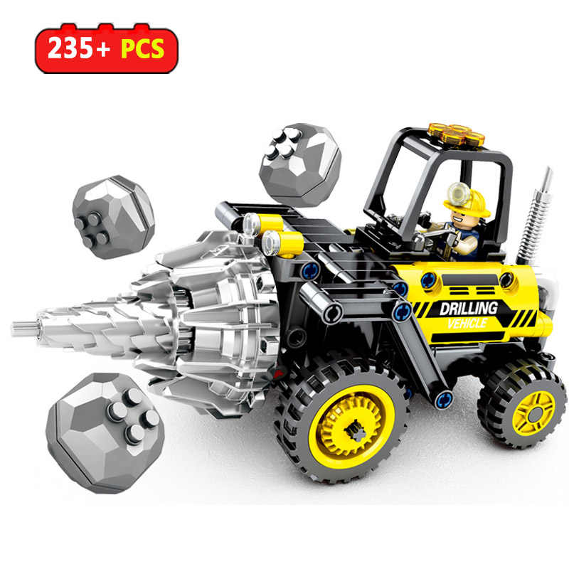 235pcs Drilling Vehicle Engineering Building Blocks Technic Bricks city Construction Toys For Boys Children