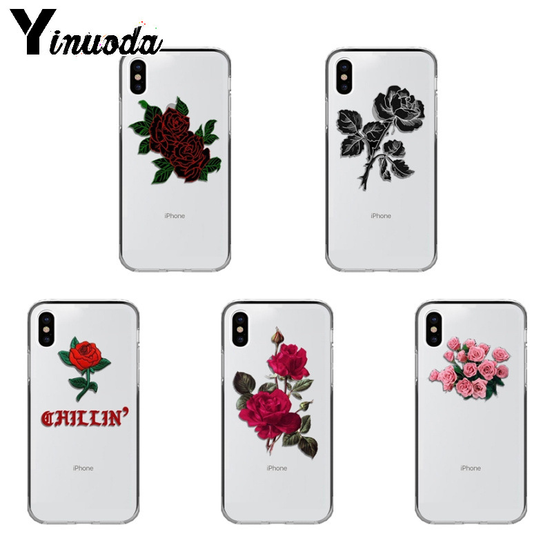 Yinuoda Rose flowers Colorful Phone Accessories Case for iPhone Xr XsMax 8 7 6 6S Plus Xs X 5 5S SE 5C Cases-in Half-wrapped Cases from Cellphones & Telecommunications