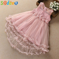 Sodawn High Quality Children Clothes Girls Clothes 2018 Summer Waist Flower Accessories Lace Design Party Princess