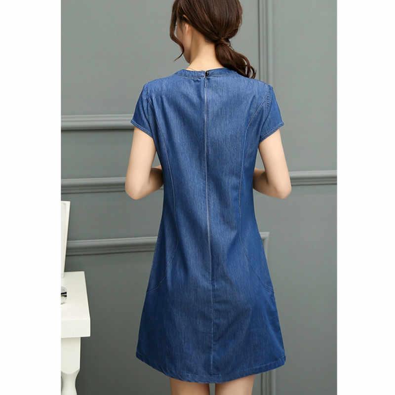 Весна Лето Женское джинсовое платье с коротким рукавом 2019 модное тонкое элегантное платье с вышивкой повседневное джинсовое платье женская одежда