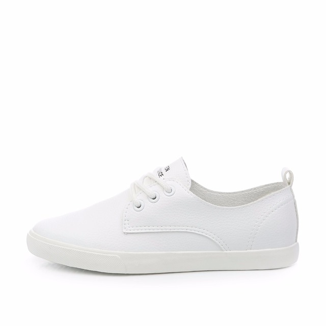 2018 New Leather Women Shoe Casual Leather Shoes For Women Flat Shoes Ladies Lacing Loafers Zapatos Mujer 2