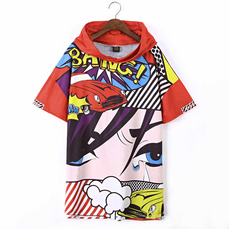 Solo ¡! camisetas nunca gráficas wonder mujer Camiseta larga dibujos animados anime coche ojos bang pinted kawaii mujer rojo hipster camisetas con capucha