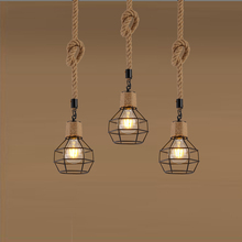 Industry loft chandelier vintage pendant lamp bedroom aisle living room bar dining room restaurant cafe light rope droplight nordic retro iron round pendant light loft vintage lamp pendant hand knitted hemp rope light for restaurant bedroom dining room