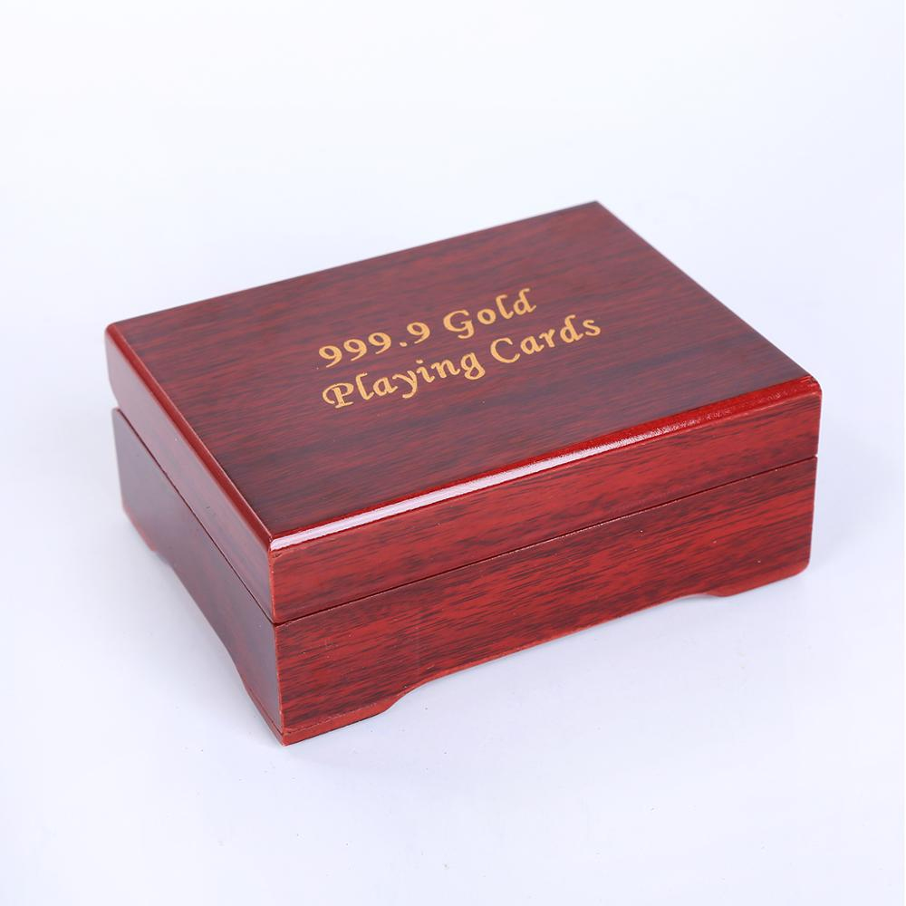 Gift Wooden box card pack gold Playing cards Waterproof  durable Creative gift  Poker cards diamond Gold Foil game cards