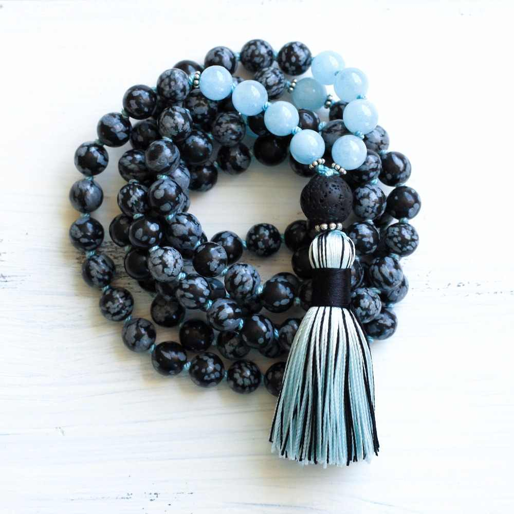 Ready to ship labradorite 108 beads knotted mala in 6mm intuition and conscient dreaming tassel necklace Hand knotted by Sphalie