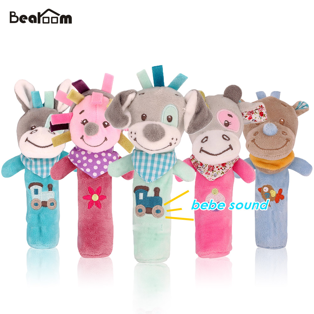 Baby & Toddler Toys Cartoon Baby Toy Cute Rabbit Fox Dog Animal Hand Bells Plush Newborn Toys 0-12 Months Baby Rattle Early Educational Toy