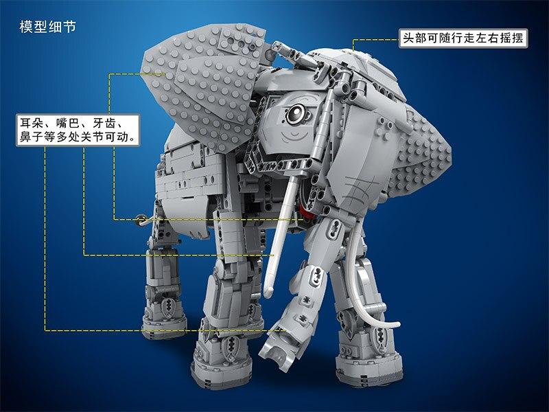 Vencedor 7107 Técnica Criadores 1542pcs Criativo Elefante Controle Remoto RC Elétrico Animais Blocos de Construção de brinquedos para Crianças - 3