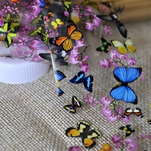 Butterfly Plum Flower Nail Art Transfer Foils Colorful Full Wrap Nail Sticker Decal Decoration DIY Manicure Tools 653