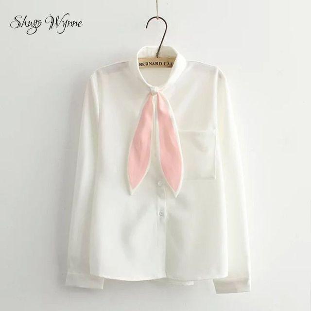 Mori Dziewczyna Kawaii Wynne Shugo Koszule Wiosna Jesień Nowy Kobiety Ładny Krawat Skręcić w dół Kołnierz Z Długim Rękawem Luźne Białe Shirt Tops