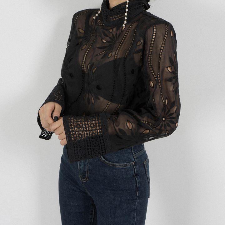 Линетт's chinoiseroy летние женские винтажные открытые кружевные рубашки - 4
