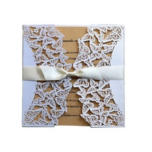 50pcs White Laser Cut Engagement Wedding Invitations Card Hollow Butterfly Invites Business Birthday Christmas Greeting Cards