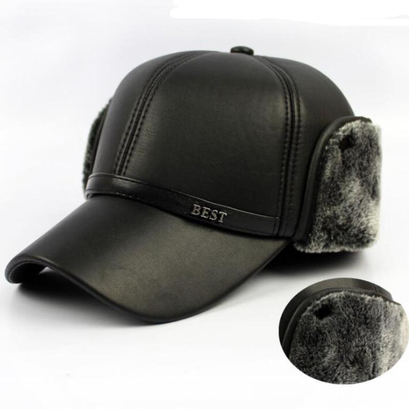 HT647 Warm Winter Leather Fur Baseball Cap Ear Protect Snapbs