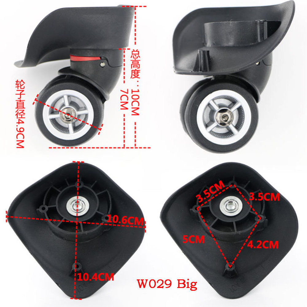 Luggage Wheels Replacement Suitcase Wheels 1 Pair Swivel Universal Wheels Suitcase Wheels For Any Bag Luggage Accessories Trolley Wheels Replacement Caster