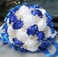 100% Ручной Работы Королевский Синий Белая Роза Лента Свадебные Декоративные Цветы Бриллиант Жемчуг Украшения Свадебный Букет Пользовательские Цвета W224A
