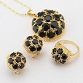 WPAITKYS Gold Color Wedding Jewelry Sets For Women Black Created Zircon Hoop Earrings Necklace Pendant Rings Free Gift Box