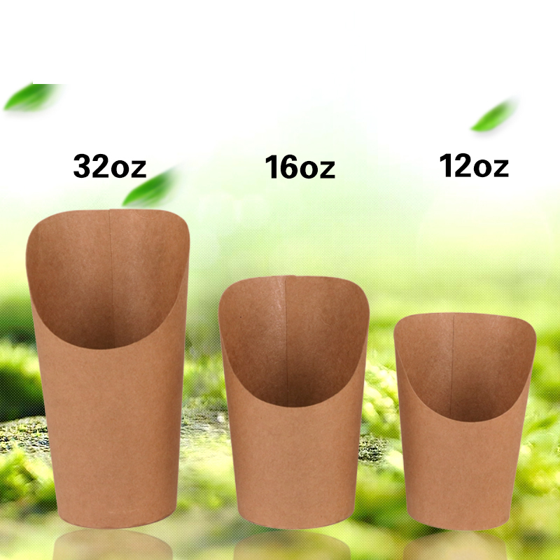 100pcs Kraft Paper French Fry Cups, French Fries Scoop Cup, Bubble Waffle Paper Cups