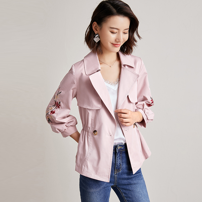 2019 New Women's Slim Short   Trench   Coat Spring Fashion Suit-collar Double-breasted Embroidery Lantern Sleeve Windbreaker Outwear