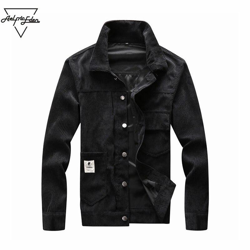 Aelfric Eden Autumn Men's Corduroy Leisure Black Jacket Motorcycle Coat Overcoats Men Lapel Thick Solid Color Big Pocket Jacket