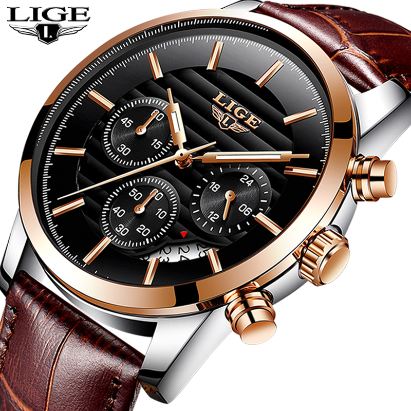 2018New Men Watch Brand LIGE Mens Waterproof Sport Quartz Watches Business Fashion Casual Genuine Leather Brown Black Male Clock пледы и покрывала vladi плед снежинка 140х200 см