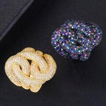 GODKI 28mm Luxo Big Trançado Chic Anéis para As Mulheres de Casamento Acessórios Jóias Anel de Dedo Zircão Cúbico de Noiva Africano Dubai 2019