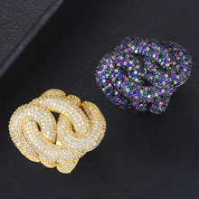 GODKI 28mm Luxury Big Braided Chic Rings for Women Wedding Cubic Zircon African Bride Dubai Accessories Finger Ring Jewelry 2019