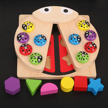 Kids Multi-function magnetic fishing game, ladybug shape building blocks wooden toys, Ladybird model Learning toys for children