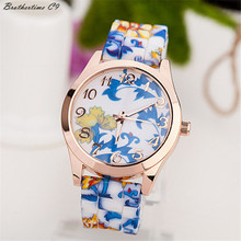 Brothertime C9 New Arrival Ladies Lady Watch Silicone Printed Flower Causal Quartz WristWatches #-090 Free Transport Wholesale