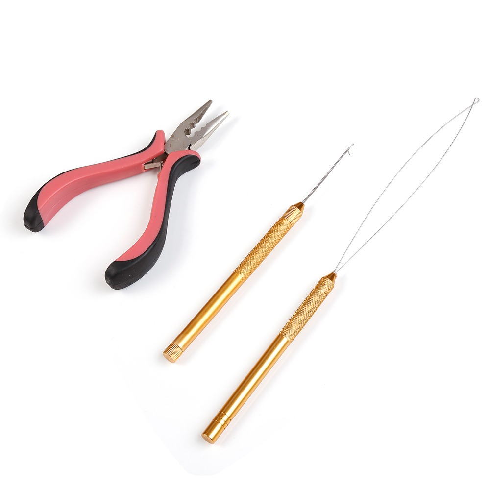 Neitsi One set Hair Tools For Ring Hair Extensions (1pc Plier Pink#+1pc Copper Hook Needle+1pc Copper Loop Threader)