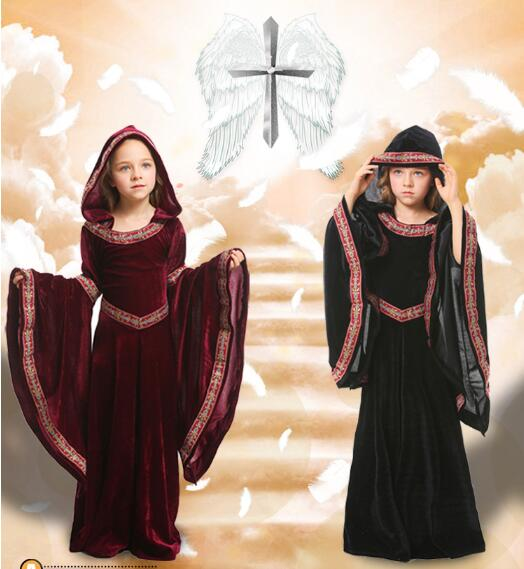 girls Costume Medieval Maiden Fancy Cosplay Over Dress halloween costumes for kids Princess Victorian Dress Costume Cosplay