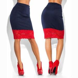 Image 4 - Saia feminina formal de cintura alta e renda, saia lápis curta sexy transparente de esticar vermelha e preta