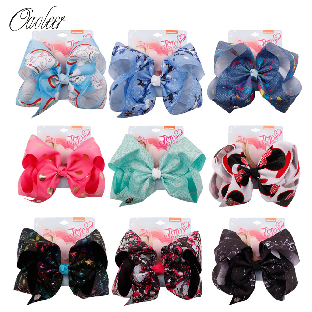 Oaoleer Hair Accessories Jojo Siwa Hair Bows For Girls Kids Hairgrips 7'' Unicorn Grosgrain Ribbon Hairpins JOJO BOWS
