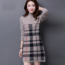 S-XXXLNew Womens Sweater Autumn and Winter 2016 Fashion Medium-long Patchwork Long-sleeve Turtlrneck Plaid Dress Female
