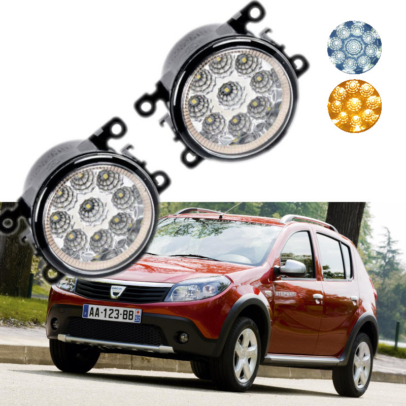 Car Styling For Dacia Renault Sandero 2010-2016 9-Pieces Leds Chips LED Fog Light Lamp H11 H8 12V 55W Halogen Fog Lights сетка на решетку радиатора renault sandero