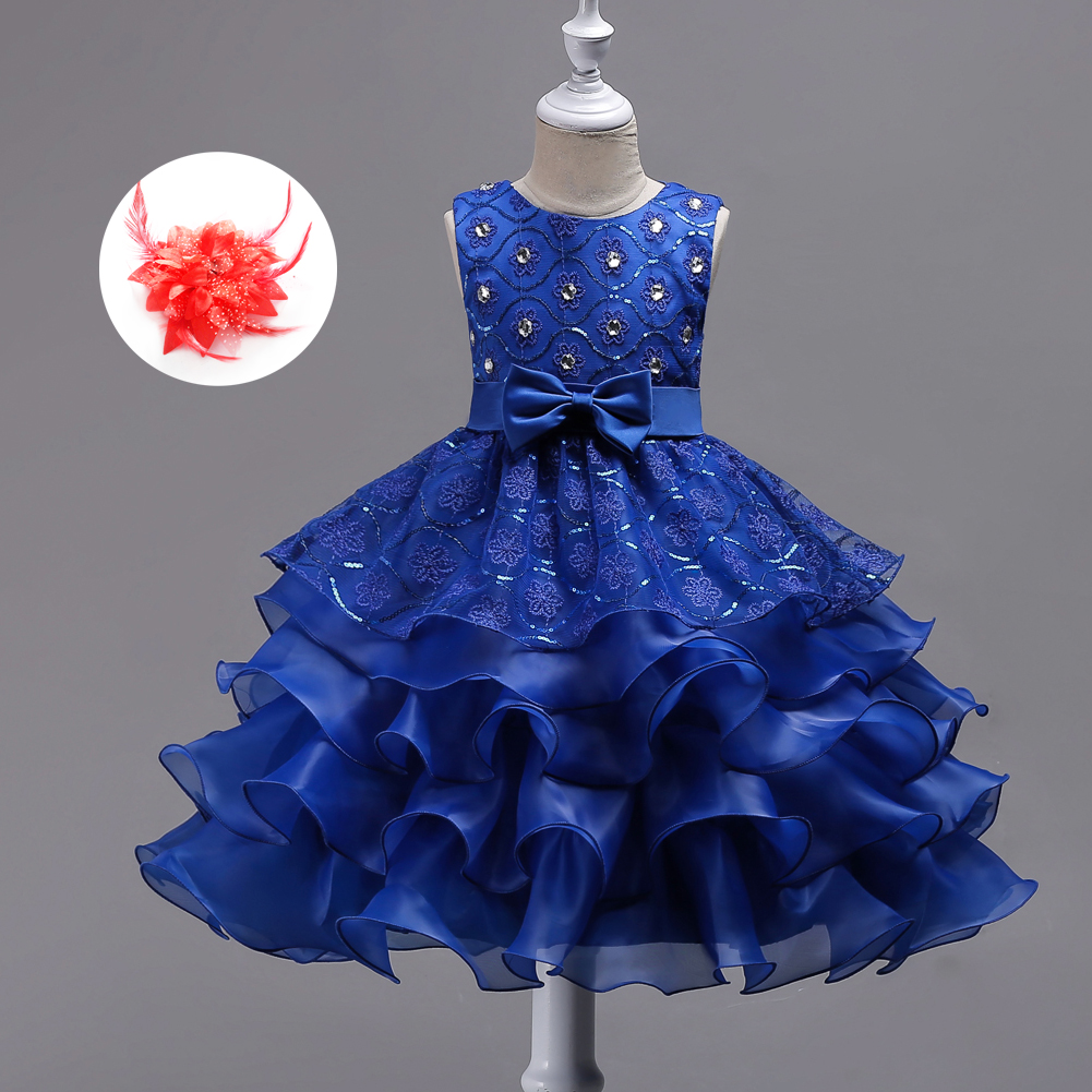 New Sequin Luxury Hot Pink White Lavender Blue Children Girl Princess Wedding <font><b>Cocktail</b></font> and Event Party <font><b>Dress</b></font> Evening <font><b>Kids</b></font> Gown image