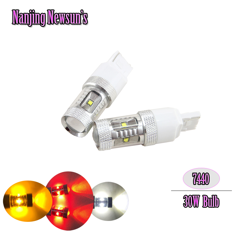 2x White/Red/Yellow 30W Cree Chips T20 7440 W21W Led Bulbs For Auto Car Moto Reverse Lights Backup DRL Lights Bulb 12V DC 2x 3014 57smd chip t20 7443 7440 canbus error free bulbs led bulbs car reverse lights signal backup drl lights white red yellow