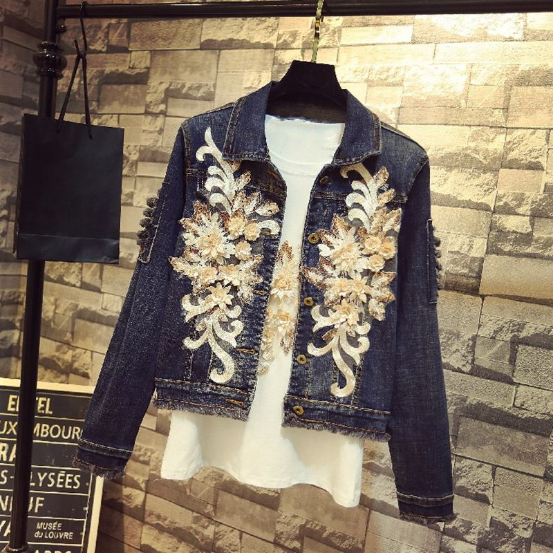 Mode Floral Outwear Femmes 1072 Veste De Lace Streetwear Bleu Manteau Y Broderie 2018 Denim Automne Jean FwIfq7fE