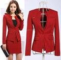Más nuevo 2015 de primavera profesional Business Women Work Wear faldas trajes Formal mujeres establece para para mujer de la oficina Red Plus Size 4XL
