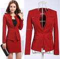 Newest 2015 Spring Professional Business Women Work Wear Skirts Suits Formal Women Sets For Office Ladies Red Plus Size 4XL