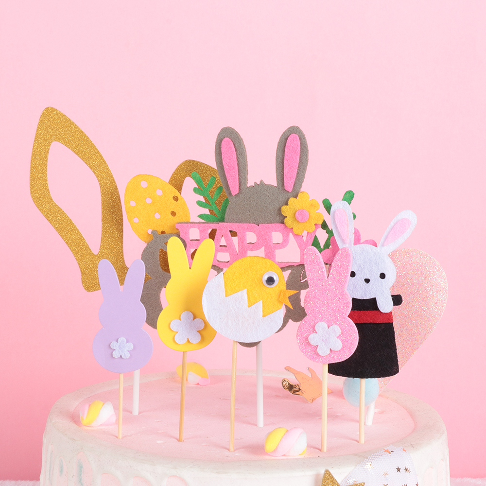 Party Favors Easter Craft Glitter Rabbit Cake Decor Picks Card Cupcake Toppers