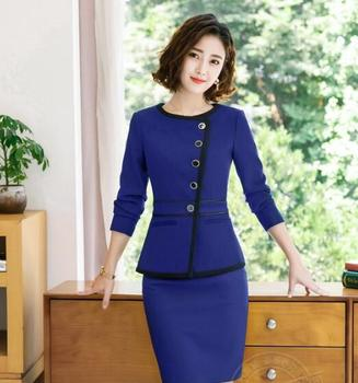Autumn Fmasuth Elegant Ruffle Office Uniform Skirt Suit Autumn Full Sleeve Blazer Jacket+Skirt 2 Pieces Female Work Skirt Suits 1