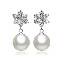 Everoyal Trendy Pearl Snowflake Stud Earrings For Girl Accessories Pure 925 Sterling Silver Women Jewellery Gift
