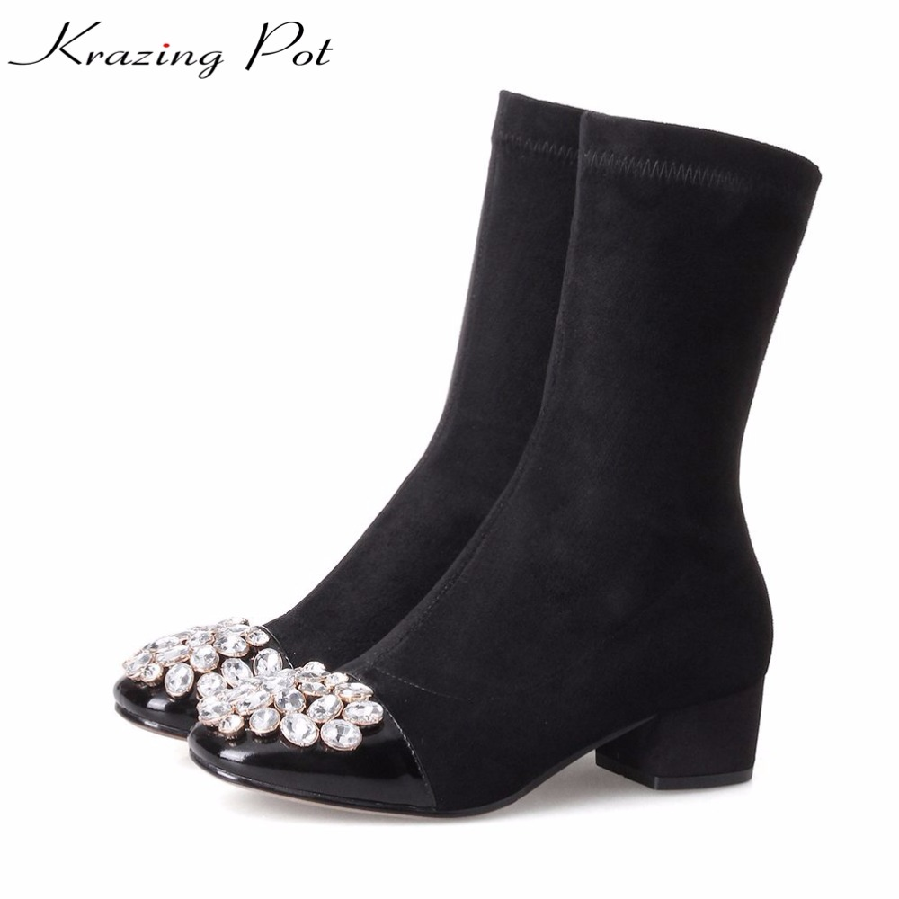 Krazing pot cow leather fashion crystal leather boots thick heels keep warm square toe party superstar winter mid-calf boots L93 memunia fashion women boots round toe genuine leather boots zipper square heel wool keep warm cow leather mid calf boots