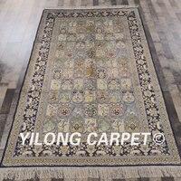YILONG 5'x8' authentic persian classic decoration handmade silk four seasons design oriental area rug (YHW639B5x8)