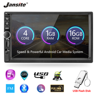 Jansite 7 2 Din Car multimedia Android 8.1 player Touch screen GPS Navigation Mirror link for iPhone audio With Backup camera