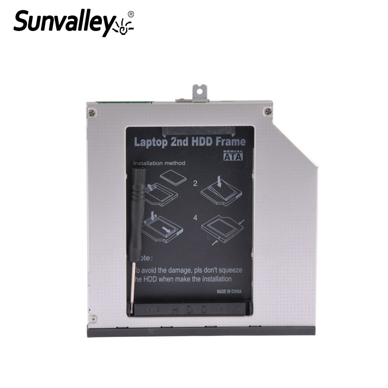 Sunvalley 2nd HDD Caddy 9mm/9.5m SATA To SATA SSD Case HDD Hard Drive Case DVD/CD-ROM Optical Bay For Laptop Lenovo T440P